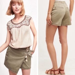 Anthropologie Hei Hei Green Utility Skorts